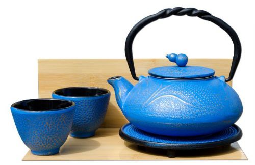 Cups Trivet & SUMMER MEADOW cast iron tea pot kettle 0.55L Azure on gold colour